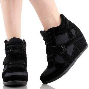 Black High Top Strap Hidden Wedge Sneaker